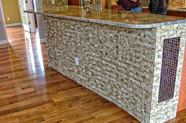Glass Tile And Stacked Stone Kitchen Island 1e