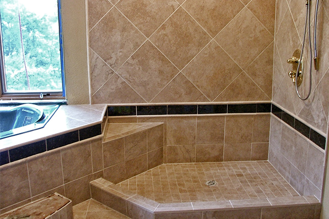 Bathroom tile photos fulmer tile contractor bathroom tile installer mud shower pan with stone and granite tile 2a ppazfo