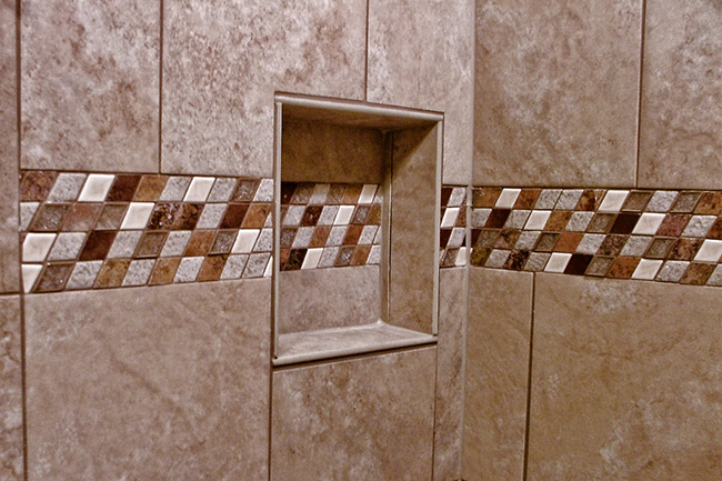 Bathroom tile photos fulmer tile contractor bathroom tile installer mosaic tile and natural stone shower niche 2e ppazfo