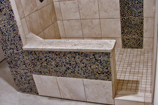 Natural Stone And Mosaic Tile Mud Shower Pan   2i